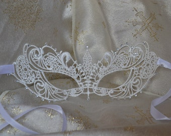White Lace & Diamante Masquerade Mask  - Weddings, Valentine's Day Gift, New Years, Balls, Proms, Christmas Party