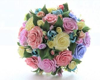 Yellow Roses Wedding bouquet SET, 1 boutonniere,1 Hairclip,Alternative bouquet, Deco Clay, Handmade Clay bouquet, Wedding decor, Brides
