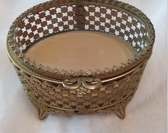 Vintage gold filigree jewelry box