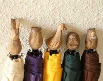 Free shipping Umbrella unique wooden animal handle UV block for rain and sunshine - Original Wooden Color
