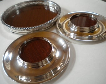Silver Plated Coasters with Tray Wood Laminate Bottom Crescent