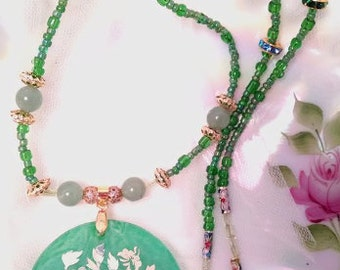 The Green Lady Green Aventurine, Peridot, Shell, Cloisonne & Glass Bead Necklace
