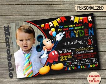mickey invitations  etsy, Birthday invitations