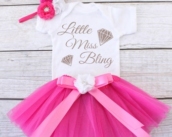 Little Miss Bling. Baby Tutu Outfit. Girl's Outfit. Girl's Tutu Outfit. Girls Tutu Set. Girl's Clothing. T12 GRL (HPINK)