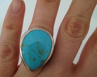Large Turquoise Ring, Turquoise Ring, Pear Shape Turquoise Ring, Retro Vintage Style Ring, 925 Sterling Silver , Hand Setting