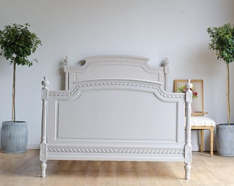 NOW SOLD - Antique French 19th Century Double Bed with Slats Painted in Farrow & Ball