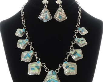 Opal Turquoise Silver Necklace Set Inlaid Post Drop Earrings