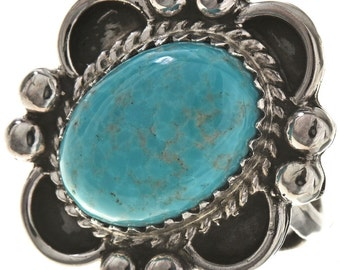 Turquoise Silver Ladies Ring Navajo Design any Size Women's Ring