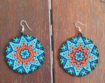 Handmade Roundies Huichol Earrings