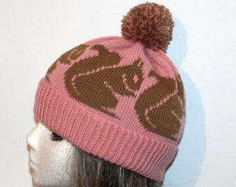 Dusty Pink Knit Beanie Hat with Squirrels - with or without Pompom option - teenager upto adult size