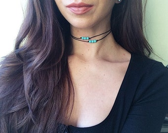 The Turquoise Terra Bead Choker with knots and large beads - Natural beaded simple cord choker