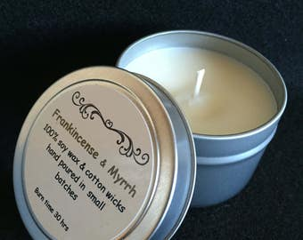Frankincense & Myrrh candle scent, 100% soy wax, travel tin candle, metal tin candle, gift under 20, hand poured
