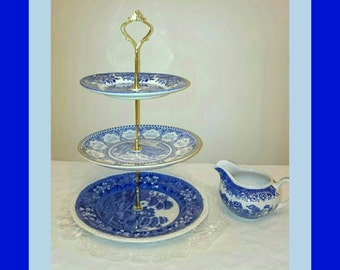 Blue cake stand, blue and white cake stand, vintage cake stand, cake stand with jug, blue and white jug, wedding cake stand, afternoon tea