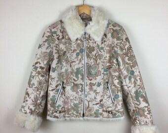 70s Sherpa Jacket Size Medium, Floral Jacket M, Fur Collar Jacket
