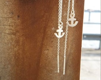 Long earrings with anchor silver