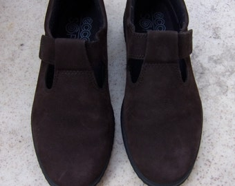 Vintage Womens Shoes/Dark  Brown Shammy Shoes/ ECCO Soft Shoes/ Autumn Shoes/Made in Portugal/Size EU 36 UK- 3