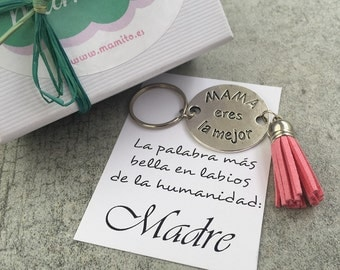 amak dedicated breastpiece, pink tassel, mother's day gift, christmas gift, pink keyring, silver key chain