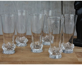 Sorcy model series of 6 Daum Crystal champagne flutes