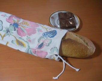 Wand in flowery, washable and reusable cotton bag
