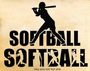 Softball svg files, Softball silhouette clipart, Baseball svg, Shirt design, Iron on designs,  Cut files for Cricut, Files for Silhouette