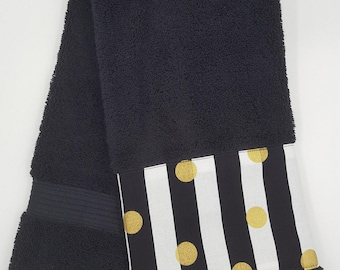Black and Gold Towels, Stripes and Polka Dots, Black and White, Bathroom Decor, Housewarming, Bathroom Update, Gift Idea, Soft Cotton Towels