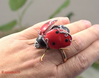 Jewelry Brooch jewelry Insect jewelry Beetle brooch Beetle jewelry Ladybug jewelry Polymer clay jewelry Valentines gift