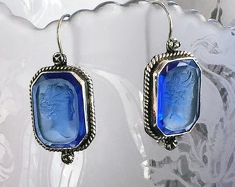 Vintage glass Intaglio and Sterling Silver earrings Cameo style 1930's glass
