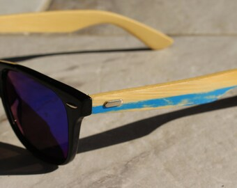 Wood Sunglasses, Blue Striped Rustic Look, Wooden Sunglasses with Black Frame, Blue Polarized Lens