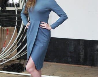 Sky Blue Dress, Casual dress, Business Casual Dress, Blue Dresses, Long Sleeve Dress, Pencil Dress, Tight Dress, Blue Tight Dress