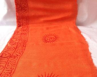 Yoga and Meditation Orange Color Prayer OM Shawl