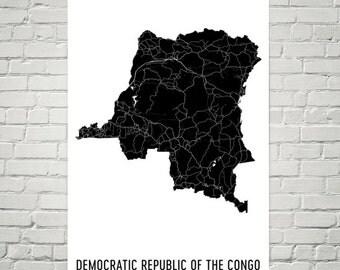 Congo Map, Map of Congo, Democratic Republic of Congo Art, DR Congo Decor, DRC Gift, DROC Print, Congo Poster, Congo Wall Art, Congo Map Art