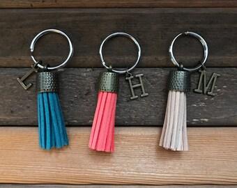 Tassel Keychain, Monogram Keychain with Tassel, Initial Keychain