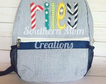 Navy Seersucker backpack, monogrammed seersucker backpack, toddler seersucker backpack, full size seersucker backpack, Riley brights