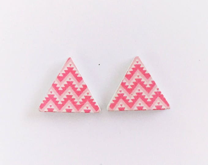 The 'Lucinda' Geometric Wooden Handpainted Earring Studs