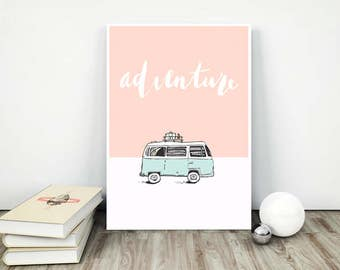 Decor hippie print art travel Poster adventure Bus decor Travelling summer Trip collectibles Road Coral color mint Trip road vacation