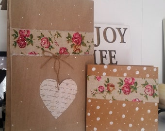 matching brown paper gift bag and card
