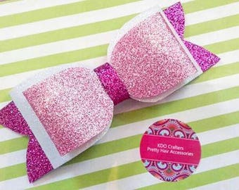 Large Glitter Bow Hair Clip in Pretty Pinks and White.