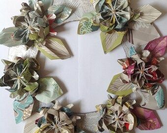 Beautiful large paper folded flower wreath made from vintage and retro wallpapers