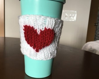 Knitted Heart Coffee Cup Sleeve