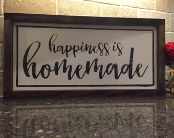 """9"""" x 18"""" Happiness is Homemade farmhouse wooden sign"""