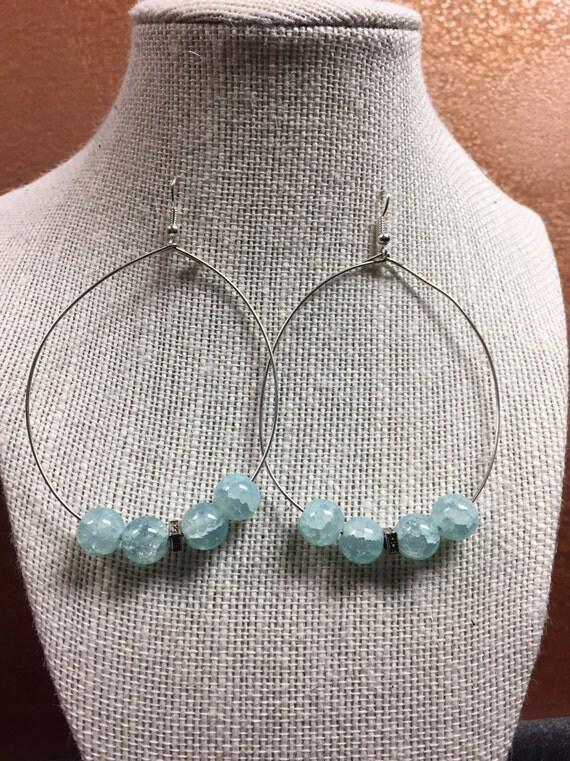 Aqua hoop earings