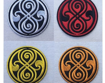 Seal of Rassilon Doctor Who BBC Tardis Logo Embroidered Iron on Patch Pick Color