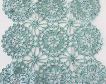 Doily, beautiful vintage Green Lace Doily, dressing table mat, place mat.