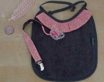 SALE grey/pink pacifier and bib gift set