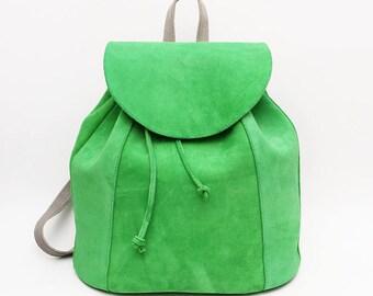 Green Suede Leather backpack, School Backpack, Satchel, Rucksack, Italian leather, Street Backpack, Bucket Backpack