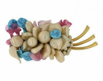Louis Rousselet Pink, Blue and Faux Pearl 1950s French Vintage Gold Tone Brooch