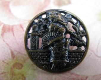 SALE Antique Pierced Metal Japanese  Lady Pictorial Button