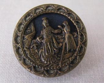Antique Metal Picture Button Man Woman