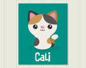 Personalized Cat Print - Calico Kitty Cat - 8x10 - Playroom Decor - Playroom - Cat Wall Art - Cat Wall Art Canvas - Cat Wall Art Decor
