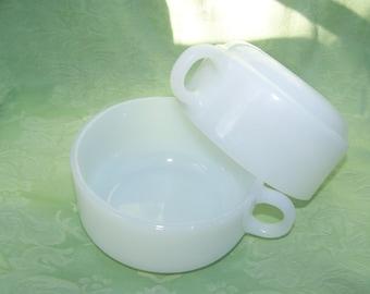 2 Vintage GLASBAKE MILK GLASS Soup Bowls with Handle - (J-2711)